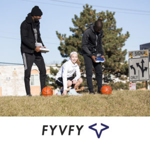 Friends putting on FYVFY shoe covers