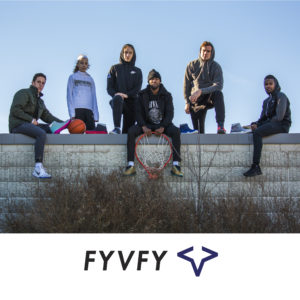 Friends sitting on wall with FY-Deny basketball shoe covers