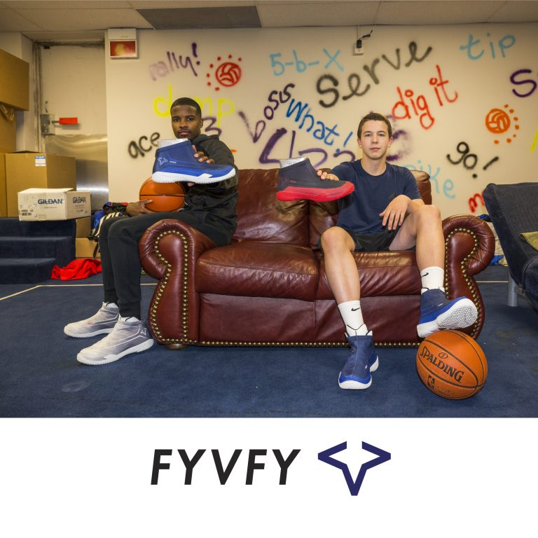 Guys sitting on couch holding FY-DENY basketball shoe covers