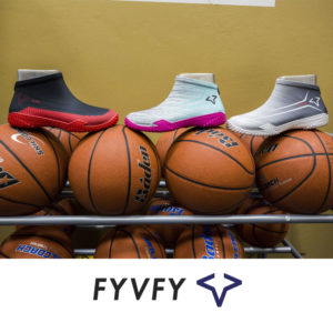 FYVFY shoe covers on basketball rack