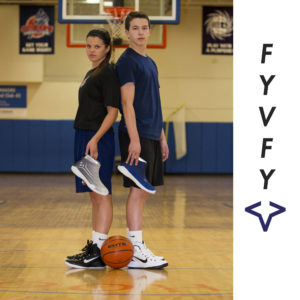 Guy and girl on basketball court holding FY-DENY basketball shoe covers